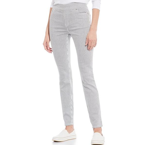 ウェストボンド レディース カジュアルパンツ ボトムス the HIGH RISE fit Stripe Skinny Pants Black/White Stripe