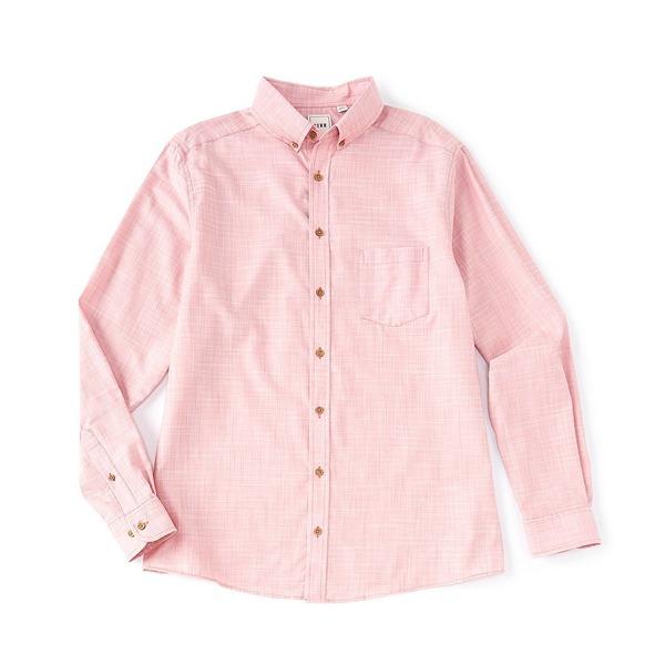 ロウン メンズ シャツ トップス Long-Sleeve Solid Slub Sportshirt Red