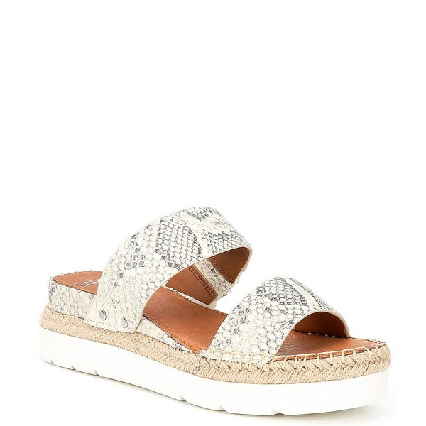 フランコサルト レディース サンダル シューズ Sarto by Franco Sarto Cappy Snake Print Leather Espadrille Slides Natural