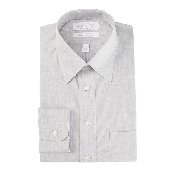 ランドツリーアンドヨーク メンズ シャツ トップス Gold Label Roundtree & Yorke Non-Iron Fitted Point Collar Solid Linen Dress Shirt Grey