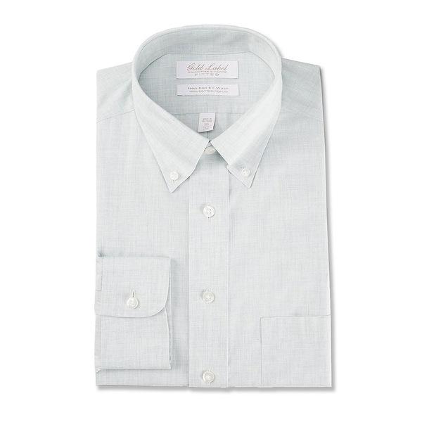 ランドツリーアンドヨーク メンズ シャツ トップス Gold Label Roundtree & Yorke Non-Iron Fitted Button-Down Collar Solid Linen Dress Shirt Green