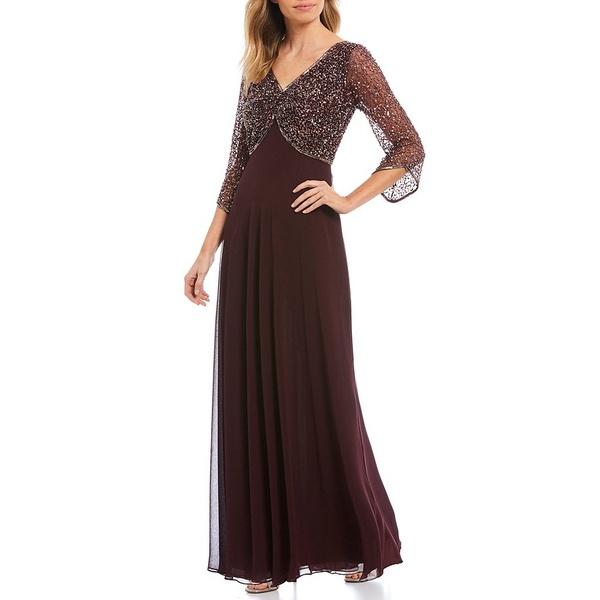 ジェイカラ レディース ワンピース トップス Petite Size V-Neck Beaded Bodice Gown Wine/Mercury