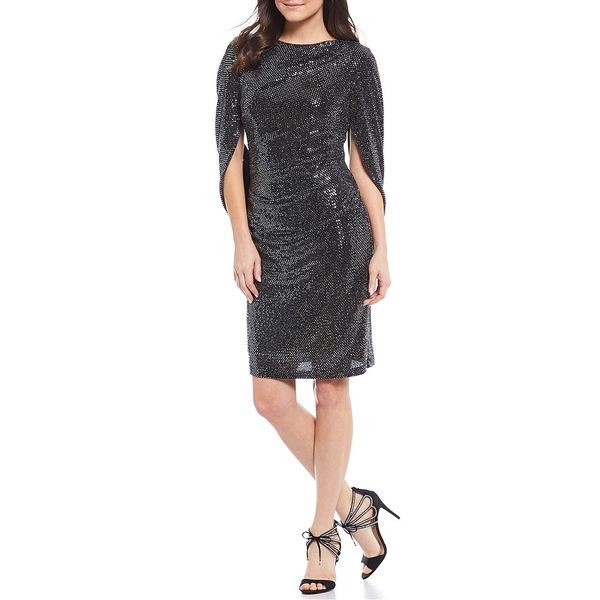 アールアンドエムリチャーズ レディース ワンピース トップス Petite Size Drape Back Knit Metallic Boat Neck Dress Black/Silver