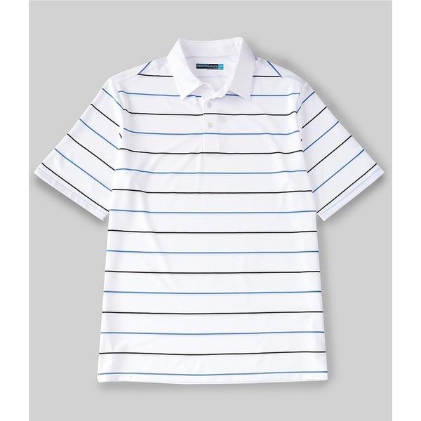 ランドツリーアンドヨーク メンズ シャツ トップス Big & Tall Performance Short-Sleeve Striped Jacquard Polo Bright White