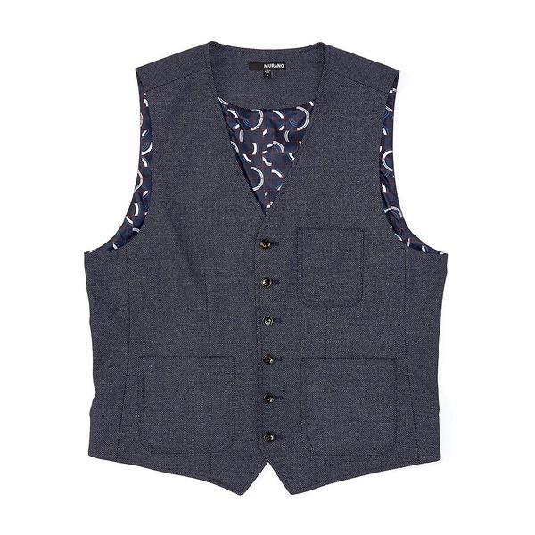 ムラノ メンズ ジャケット&ブルゾン アウター Dobby Pocket Suit Separates Vest Navy