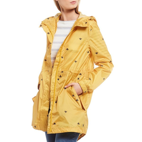ジュールズ レディース コート アウター Golightly Gold Bee Print Waterproof Packaway Hooded Rain Jacket Gold Bee