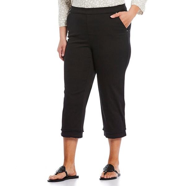 イントロ レディース カジュアルパンツ ボトムス Plus Size Rose Stretch Frayed Hem Pull-On Capri Ebony Black