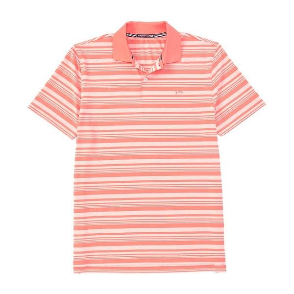 サウザーンタイド メンズ ポロシャツ トップス Driver Heather Stripe Performance Stretch Short-Sleeve Polo Shirt Sunkist Coral