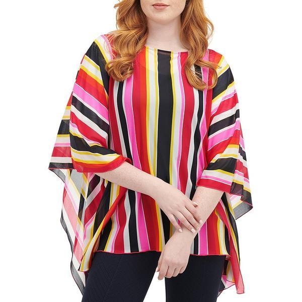ピーターニガード レディース Tシャツ トップス Petite Size Mesh Knit Stripe Maxi Top Pink/Multi/Stripe