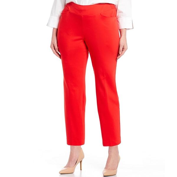 インベストメンツ レディース カジュアルパンツ ボトムス Plus Size the PARK AVE fit Elite Stretch Ankle Pants Poppy Red