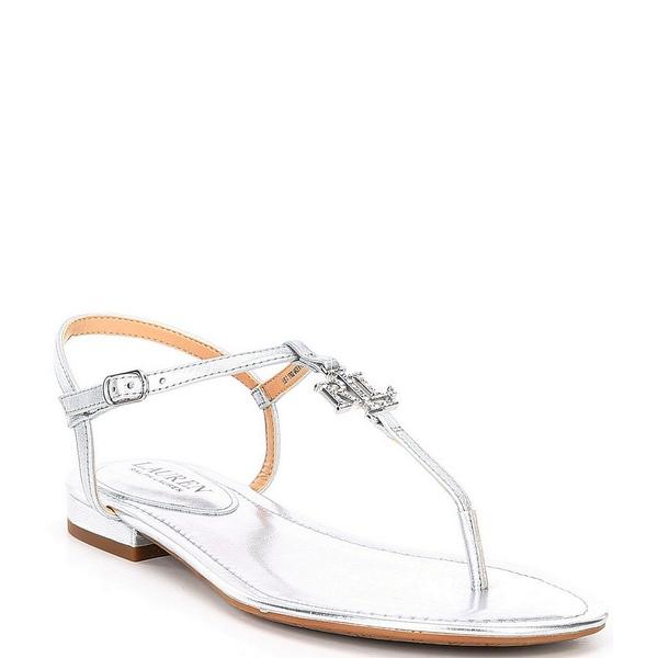 ラルフローレン レディース サンダル シューズ Elmstead Logo Metallic Leather Sandals Bright Silver