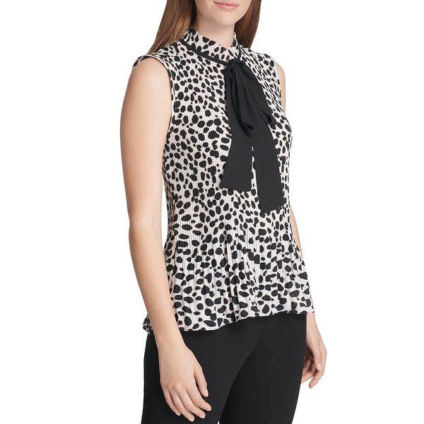 ダナ キャラン ニューヨーク レディース シャツ トップス Sleeveless Animal Print Pleated Georgette Tie Neck Top Bone/Black