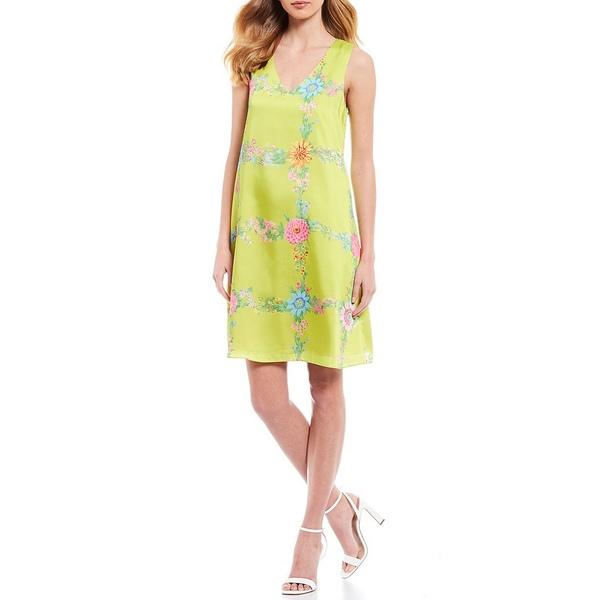 ジュリーブラウン レディース ワンピース トップス Aviana V-Neck Grid Floral Print Sleeveless Georgette Shift Dress Skittles