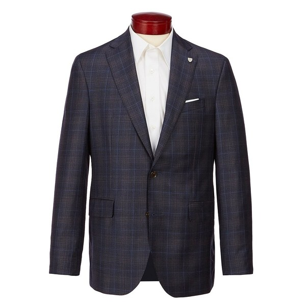 クレミュ メンズ ジャケット&ブルゾン アウター Modern Fit Plaid Wool Sportcoat Blue