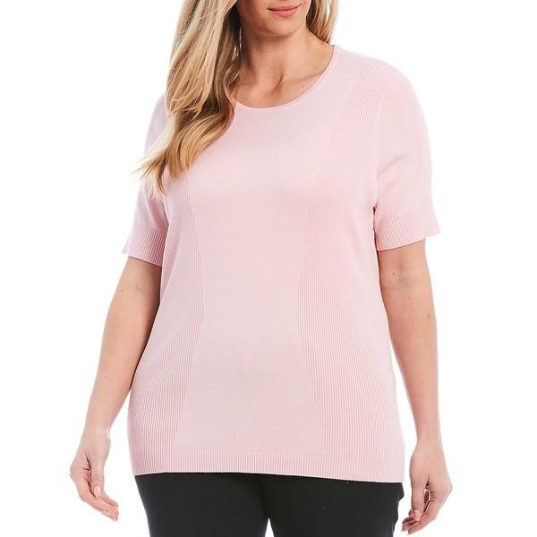 アリソンダーレイ レディース ニット&セーター アウター Plus Size Ribbed Knit Detail Crew Neck Short Sleeve Pullover Shell Pink