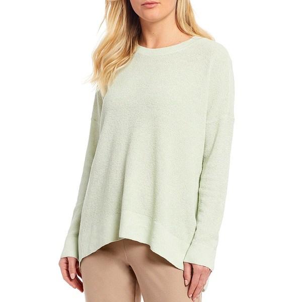エイリーンフィッシャー レディース ニット&セーター アウター Organic Linen Stretch Crepe Crew Neck Box Top Sweater Mist