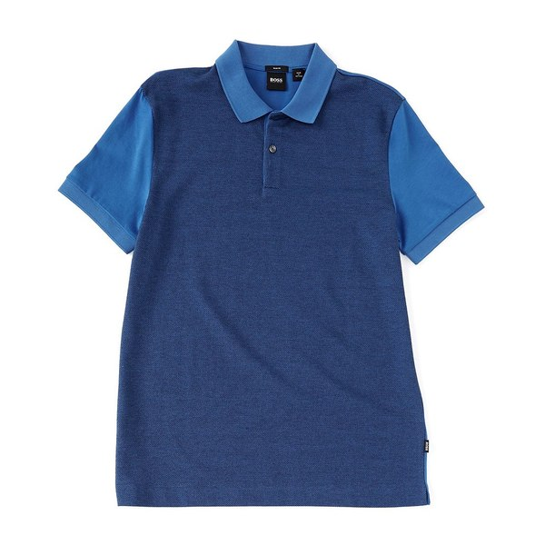 ヒューゴボス メンズ ポロシャツ トップス BOSS Slim-Fit Phillipson Micro-Pattern Short-Sleeve Polo Shirt Blue
