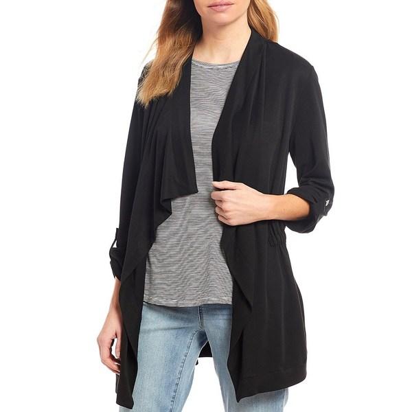 ウェストボンド レディース ジャケット&ブルゾン アウター Cascade 3/4 Sleeve Drape Front Roll-Tab Sleeve Jacket Black