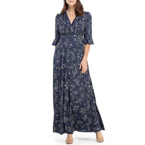 ギャルミーツグラムコレクション レディース ワンピース トップス Irene Floral Print Bodice Wrap Maxi Dress Sapphire/Stone