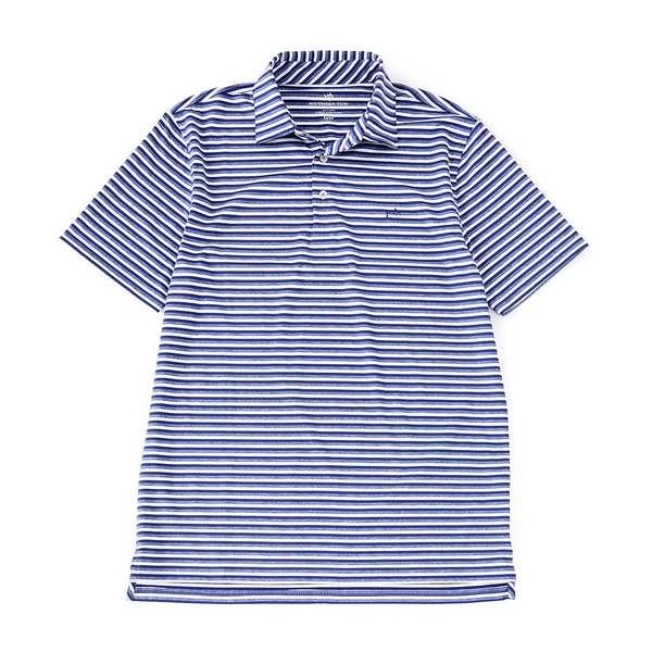 サウザーンタイド メンズ ポロシャツ トップス BRRR Driver Heather Stripe Performance Stretch Short-Sleeve Polo Shirt Blue Night