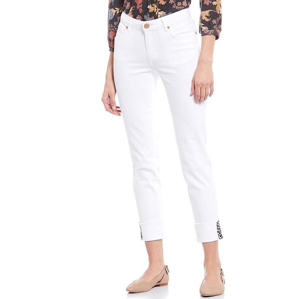 コードブリュー レディース デニムパンツ ボトムス Cuffed Cheetah Print Tape Detail Classic Ankle Jeans Bright White/Animal Tape