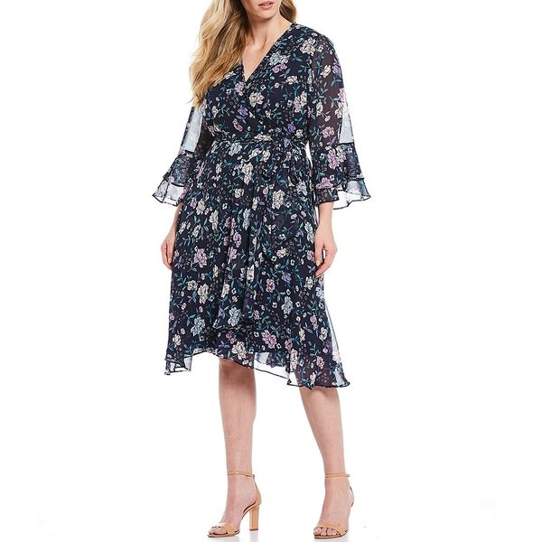 タハリエーエスエル レディース ワンピース トップス Plus Size V-Neck 3/4 Bell Sleeve Floral Print Chiffon Faux Wrap Dress Navy/Pink