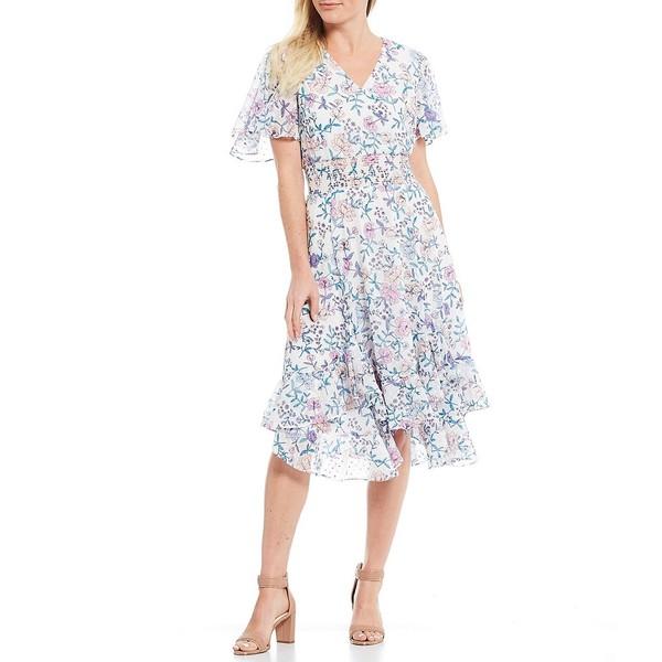 タハリエーエスエル レディース ワンピース トップス Petite Size Smocked Floral Print Chiffon Midi Dress Ivory/Pink