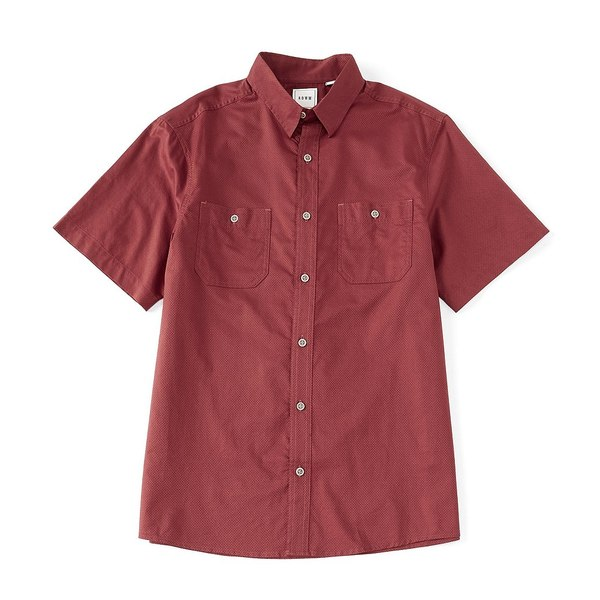 ロウン メンズ シャツ トップス Big & Tall Short-Sleeve Solid Dobby Textured 2-Pocket Sportshirt Spiced Apple