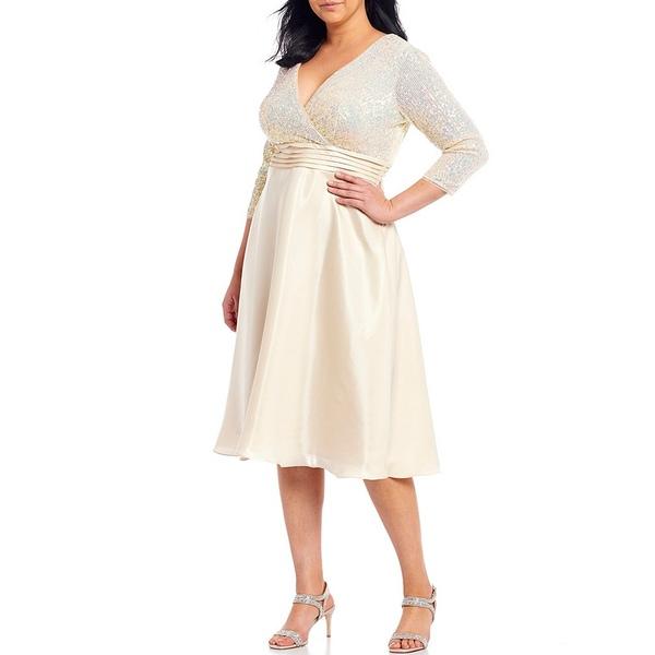 カチェット レディース ワンピース トップス Plus Size Faux Wrap Sequin Bodice V-Neck 3/4 Sleeve Tea Length Gown Champagne