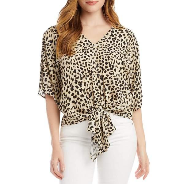 カレンケーン レディース シャツ トップス Cheetah Print V-Neck Elbow Sleeve Tie Front Crepe Top Cheetah