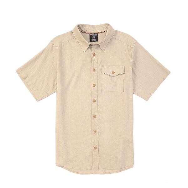 シェルパ メンズ シャツ トップス Sherpa Kiran Solid Stretch Short-Sleeve Woven Shirt Goa Sand