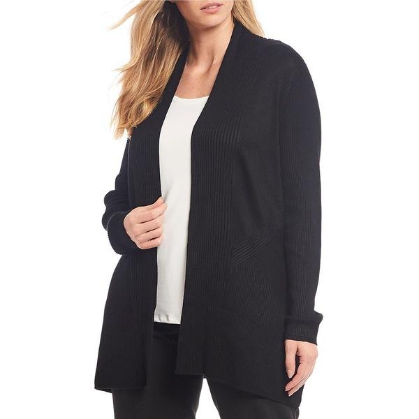 アリソンダーレイ レディース ニット&セーター アウター Plus Size Textured Solid Open Front Cardigan Black