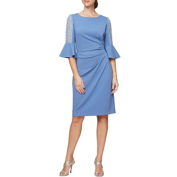 アレックスイブニングス レディース ワンピース トップス Petite Size Illusion Beaded Bell Sleeve Ruched Crepe Sheath Dress Bright Periwinkle
