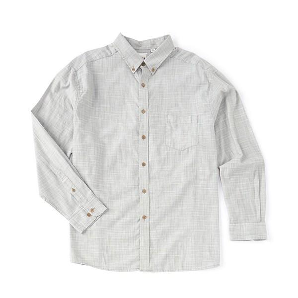ロウン メンズ シャツ トップス Long-Sleeve Solid Slub Sportshirt Green