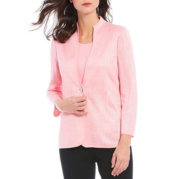 ミソーク レディース ジャケット&ブルゾン アウター Bracelet Sleeve Solid One-Button Shimmer Blazer Pink Taffy