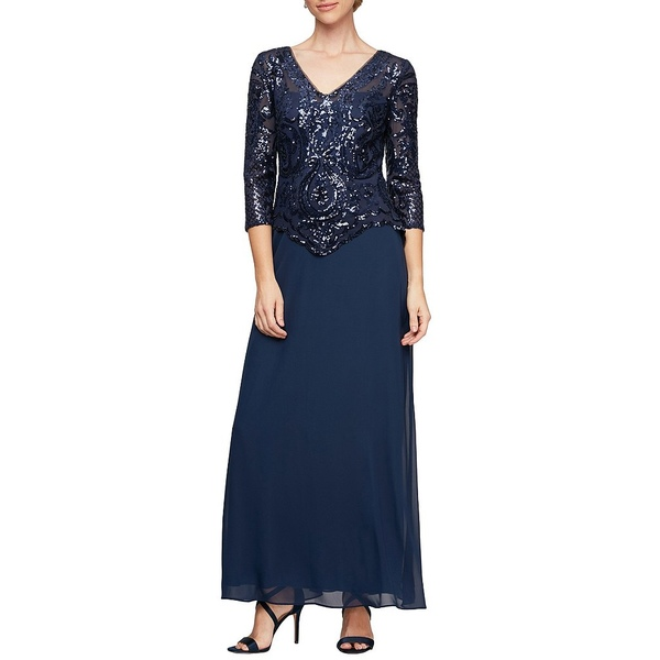 アレックスイブニングス レディース ワンピース トップス Sequin Lace Bodice V-Neck 3/4 Sleeve Chiffon Gown Bright Navy