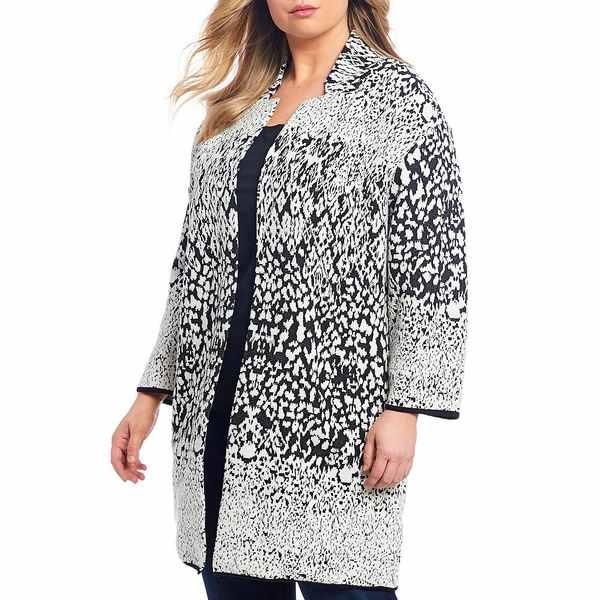 チェルシーアンドセオドール レディース ニット&セーター アウター Plus Size Bracelet Sleeve Abstract Knit Cotton Blend Cardigan Black/White