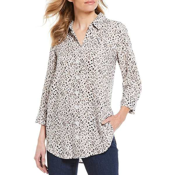 イントロ レディース シャツ トップス Petite Size Long Roll-Tab Sleeve Cheetah Print Button Down Shirt Tuscan Truffle/Cheetah