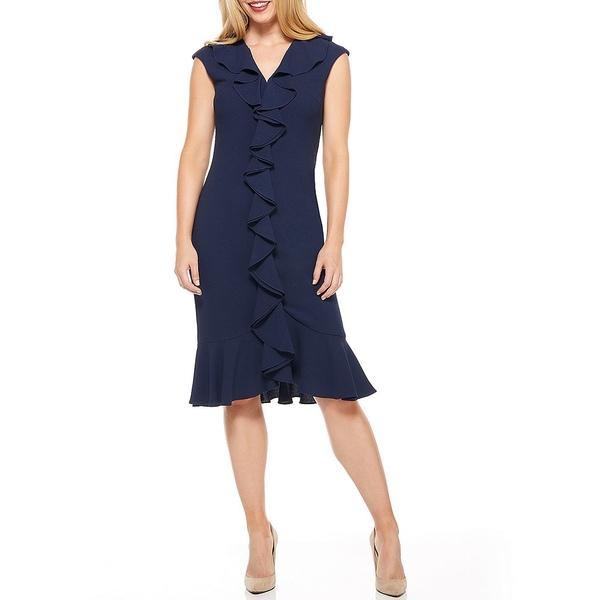マギーロンドン レディース ワンピース トップス Petite Size Flounce Ruffle Crepe Dress Navy