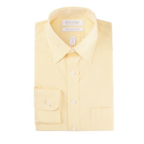 ランドツリーアンドヨーク メンズ シャツ トップス Gold Label Roundtree & Yorke Non-Iron Slim Fit Point Collar Gingham Dress Shirt Yellow