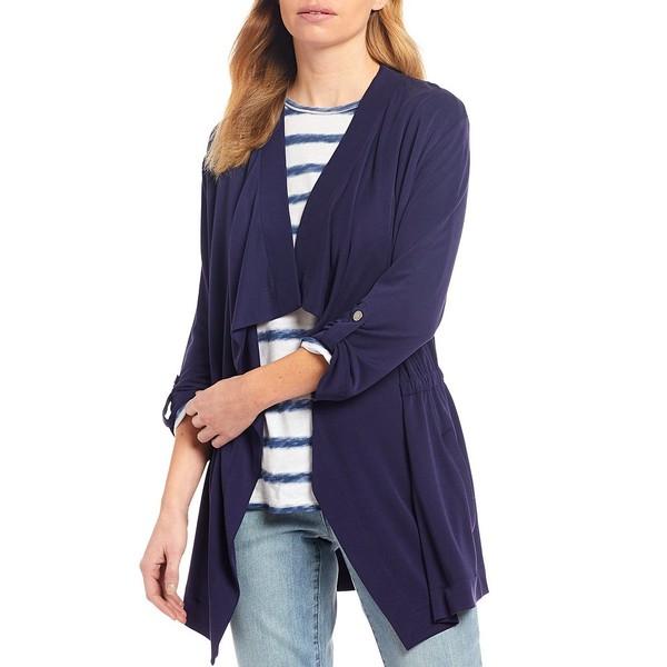 ウェストボンド レディース ジャケット&ブルゾン アウター Cascade 3/4 Sleeve Drape Front Roll-Tab Sleeve Jacket Evening Blue