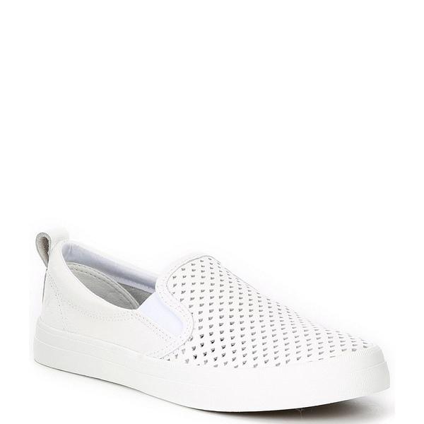 スペリー レディース スニーカー シューズ Crest Twin Gore Leather Scalloped Perforated Slip Ons White