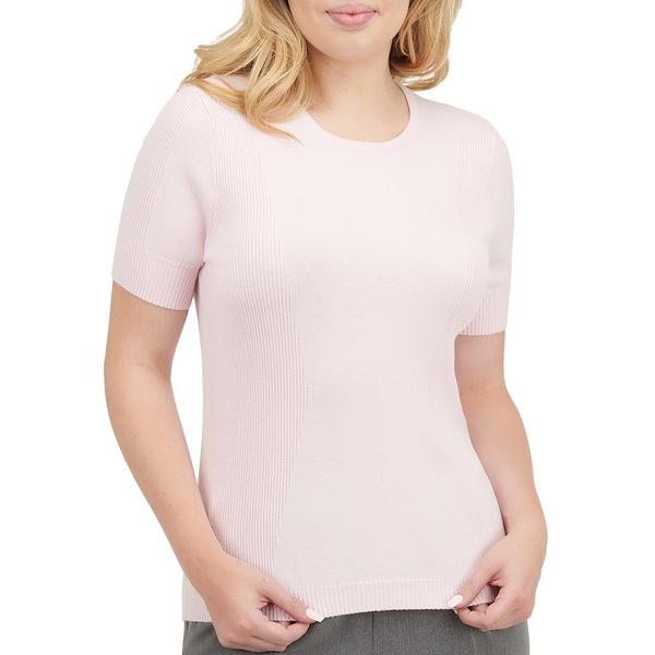 アリソンダーレイ レディース ニット&セーター アウター Petite Size Ribbed-Knit Detail Crew Neck Short Sleeve Pullover Shell Pink