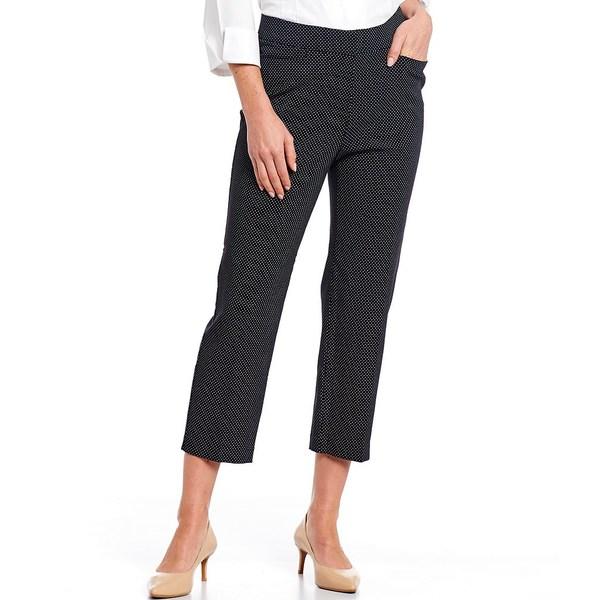 インベストメンツ レディース カジュアルパンツ ボトムス Petite Size the 5th AVE fit Elite Stretch Dot Print Crop Pant Black/White Dot