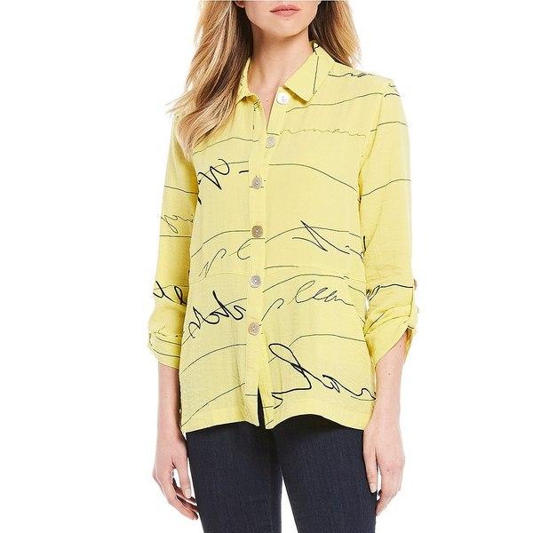 ジョンマーク レディース シャツ トップス Abstract Print Roll-Tab Sleeve Button Front Blouse Yellow
