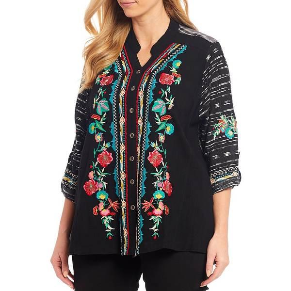 カレッサ レディース シャツ トップス Plus Size Embroidered Roll-Tab Sleeve Floral Tunic Black Multi