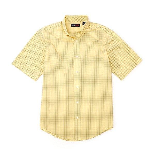 ランドツリーアンドヨーク メンズ シャツ トップス TravelSmart Big & Tall Short-Sleeve Tattersall Sportshirt Light Yellow