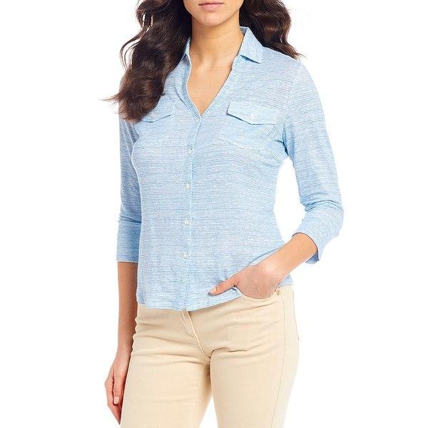 ジェーマクラフリン レディース Tシャツ トップス Seawall Print 3/4 Sleeve Brynn Linen Blend Top Mid Blue