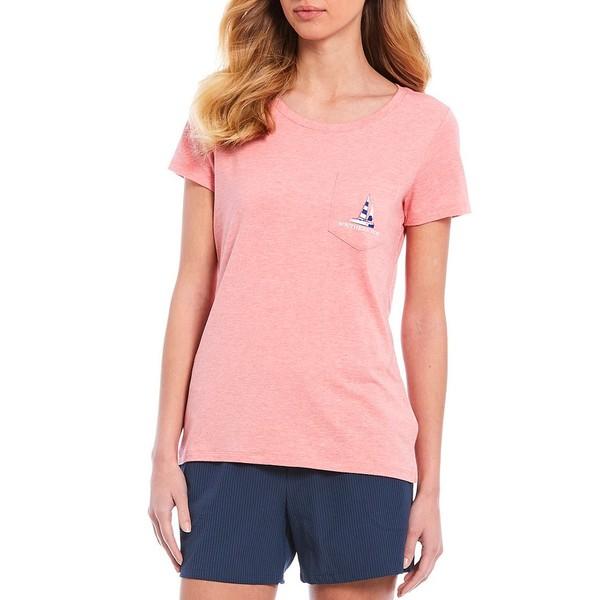 サウザーンタイド レディース Tシャツ トップス Catamaran Fitted Short Sleeve Tee Heather Geranium Pink