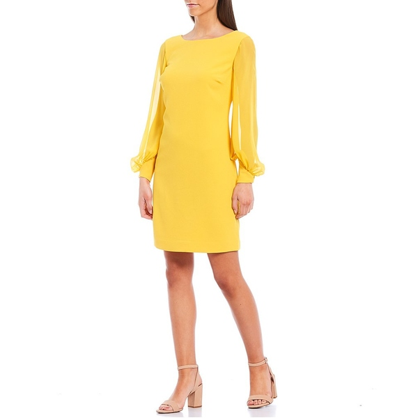 トリーナターク レディース ワンピース トップス Energized Long Illusion Puff Sleeve Boat Neck Sheath Dress Mimosa